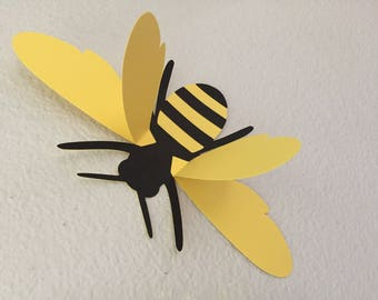 3D bees, wall bees, paper wall art bee silhouettes,  large 3D bees