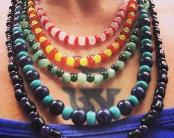 5 strand beaded rainbow necklace natural and vintage stones beads handmade one of a kind jewelry