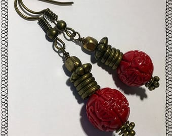 Red Chinese craved bead & Bras rings Bohemian Dangle Earrings - Boho Earrings - Zen Earrings - Hippie Earrings - Gypsy Earrings - Meditation