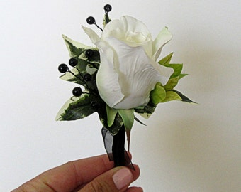 Faux Boutonniere - Wedding Boutonniere - Anniversary Boutonniere - Prom Boutonniere - White Rose Boutonniere with Black Accents