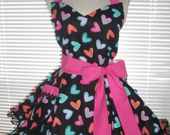 Retro Apron Multicolored Rainbow Hearts Circular Skirt with Black Ruffled Satin Edge Organza Bright Fuchsia - Hostess-Pastel Hearts