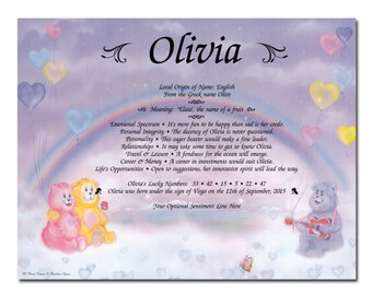 Rainbow Bears Personalized Name Meaning Print