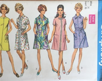 UNCUT 1960s Misses' Shirtdress Dress Simplicity Pattern 8285