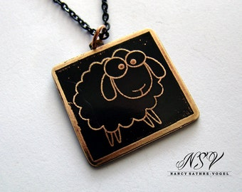 Sheep lamb pendant etched brass
