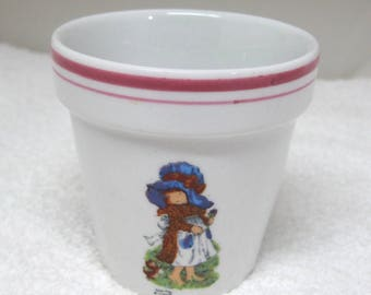 "1970's Sarah Kay Window Sill Tiny Flower Pot 3 1/8 "" Valentines Publishing #A"