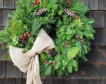 Fresh Maine Balsam Pine Cedar And Rosehip Wreath