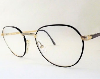 Womens Round Eyeglasses, Black and Gold Metal Eyeglasses, Flexible Temple Arms, Steampunk Glasses, Vintage New old Stock