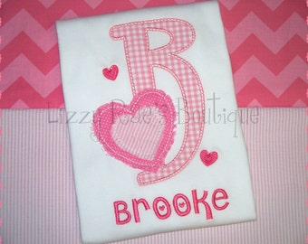 Girls Valentine's Day Embroidered Shirt- Valentine's monogram- Valentine's Day- Holiday- Vday shirt- Heart- Girls Valentine's applique shirt