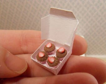 Dollhouse miniature cupcakes in a box
