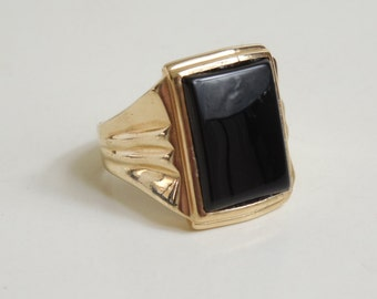 10K Yellow Gold Men's Onyx Ring Circa 1940's Vintage
