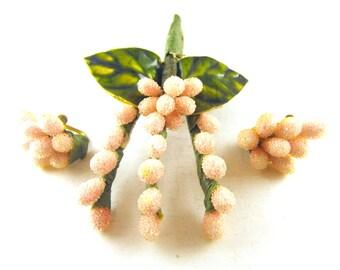 Flower Brooch Earring Set Pink Sugar Bead Pussy Willow Design Sweet Springtime Celebration