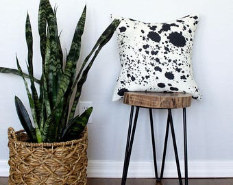 Ink Blobs Linen Pillow Cover -  Off-White Combo