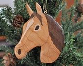 Horse  ornaments - handmade - curly walnut, curly maple, cherry