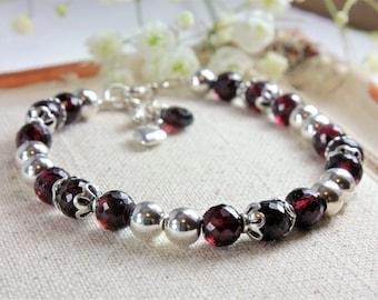 Red Garnet Bracelet, 925 Sterling Silver, Genuine Natural Garnet Jewelry, Beaded Garnet Bracelet,January Birthstone,Gift for Girlfriend,4132