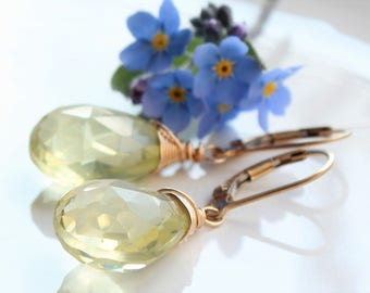 Lemon Quartz Earrings, Gold-filled wire wrap, yellow gemstone, holiday gift for her, boho chic earrings, simple artisan earrings