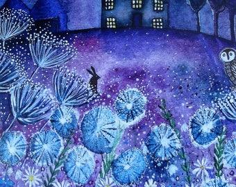 Watching the Stars, blank greetings card