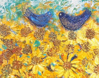 Bluebirds and Golden Sunflowers, original acrylic painting