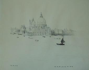 vintage stone lithograph by g t plowman venice