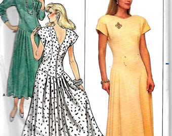 Butterick 5590 Misses Dropped Waist Dress Pattern, Back And Side Front Pleats, 8-12 & 14-18, UNCUT