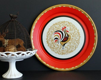 Vintage Rooster Theme Metal Round Serving Tray Kitschy Mid Century Wall Decor Farm Chic Decor