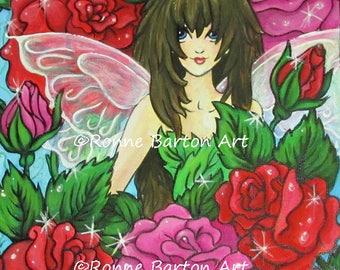 The Rose Fairy limited edition fine art trading card ACEO atc print faerie faery fae pixie big eye fantasy