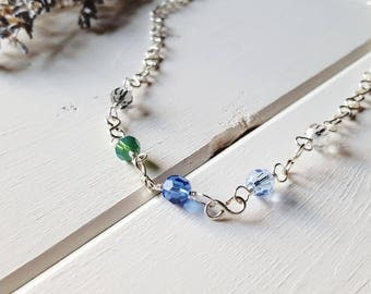 Susan - Crystal Necklace, Blue Hyacinth - Ready to Ship