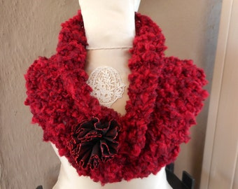 Hand Knit Cowl, Scarflette, Scarf, Red Cowl