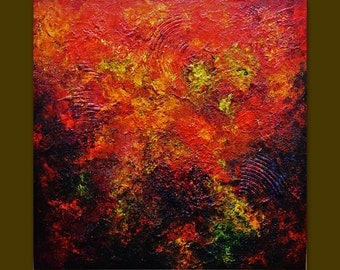 Oil painting abstract Contemporary colors Mixed.