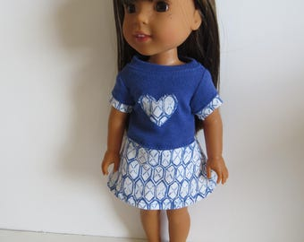 "Made To Fit Like 14.5"" Wellie Wishers Doll Clothes: Wellie Wishers Doll Dress; Dress for AG Wellie Wishers Doll"