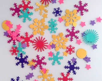 Merry and Bright Christmas Table Confetti - Snowflake Confetti - Winter Wedding Eco-Friendly Confetti - New Years Eve Party Decorations