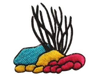 ID 0345 Corel With Rocks Scene Patch Ocean Embroidered Iron On Badge Applique