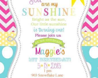Sushine Birthday invitations with envelopes   chalk- chalkboard -any colors