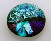 Dichroic Cab, Jewelry Cabochon,  Silver, Purple & Blue Cabochon, Mosaic Tile