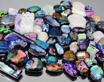 Dichroic Cabochons, 70 Cabochons, Sale Cabs, Dichroic Tiles, Mosaic Scrap