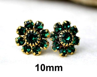 Emerald and Gold Earrings, May Studs, Rhinestone Earrings,  Cluster Studs, Birthstone Earrings, Swarovski, 10mm Studs, Green Studs, Rostone