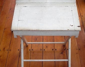 Antique White Wood Child's Size Lift Top Desk with Folding Legs