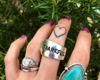 THANKFUL Spoon Ring - size 8.5 - single wrap