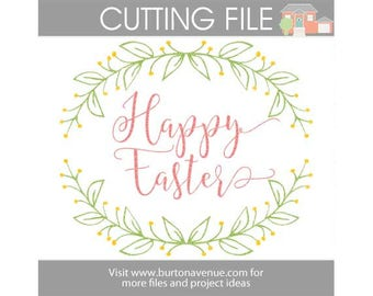 Happy Easter cut file for Cricut, Silhouette, Instant Download (eps, svg, gsd, dxf, ai, jpg, and png)