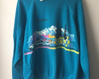 Vintage Montana Collared Sweatshirt Turquoise with a Mountain scene Adult Size XL 1990s