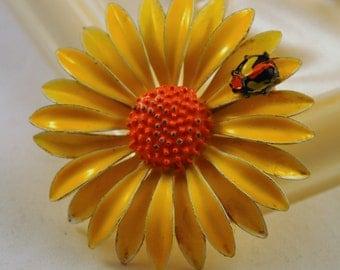 ON SALE Vintage Enamel Flower Brooch Yellow Orange Daisy with Bug  - So cute