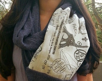 Paris Scarf, Charcoal Gray soft Knit infinity scarf A1