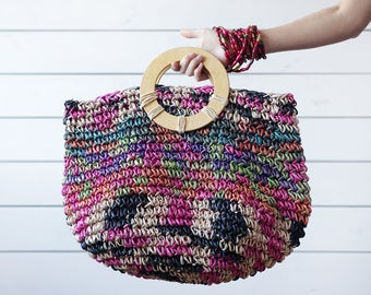Vintage pink blue colourful raffia straw woven round wood handle large market beach tote bag
