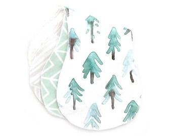 Burp Cloths Piney Trees Set of Three. Ready to Ship. Baby Gift. Baby Shower Gift. Burp Cloth. Burp Rag. Baby Essentials.