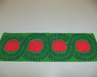 Vintage Swedish printed table runner - Red apples and green leaves