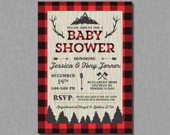 Lumberjack Baby Shower Invitations buffalo plaid Finley BC15 Digital or Printed