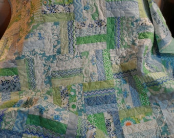 Modern lap quilt, toddler quilt, couch throw, shades of pale blue and green handmade blanket