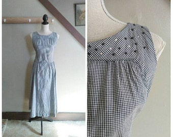 20% OFF / Starry Night in the Country 1950s Black & White Gingham Cotton Dress with Rhinestone/Stud Detail