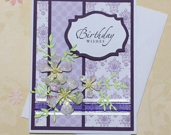 Birthday card, greeting card, handmade card, floral design, handmade flowers, purple