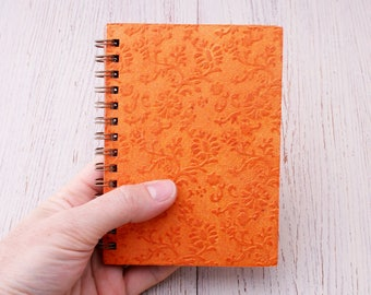 Small orange notebook spiral bound embossed floral design / mini notebook / pocket notebook / blank notebook / recycled notebook / notepad