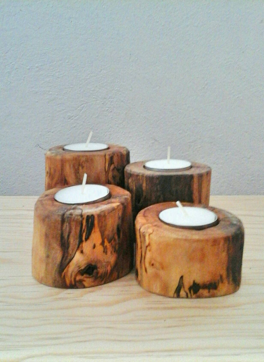 Spalted Wood Candle Holders Wooden Tea Light Holder Set Of